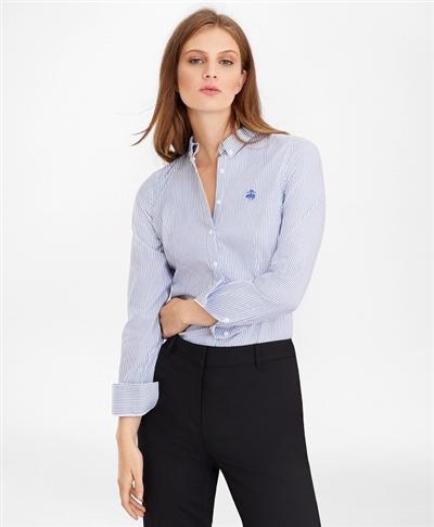 ノンアイロン GF ストレッチコットン ストライプ ボタンダウンシャツ Tailored Fit